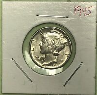 1945 MERCURY SILVER DIME. COLLECTOR COIN FOR YOUR SET. FREE SHIPPING.