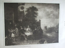 ANTIQUE PRINT 1901 THE PRODIGAL BY DAVID TENIERS VINTAGE ART PRINT ETCHING