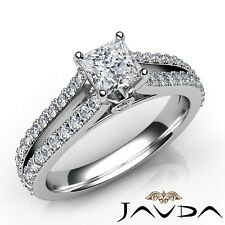 1.56ctw Comfort Fit Princess Diamond Engagement Ring GIA D-VVS2 White Gold Rings