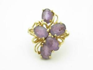 14k Yellow Gold & Purple Amethyst Vintage Halo Flower Design Band Ring Size 6