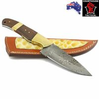 Handmade Hunting Knife, Damascus Blade, Walnut Wood & Brass Handle, Sheath