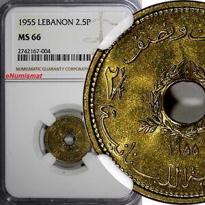 Lebanon Aluminum-Bronze 1955 2 1/2 Piastres NGC MS66 Monnaie de Paris  KM# 20