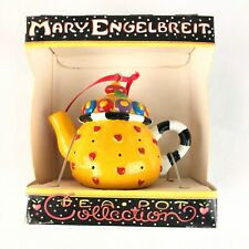 Mary Engelbreit Mini Miniature TeaPot Christmas Ornament Yellow with Hearts