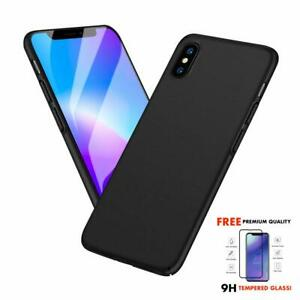 Ultra Thin Protective Hard Case for iPhone X with 9H Tempered Glass Protector