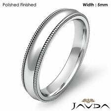 Solid Men's Wedding Ring Dome Milgrain Plain High Polish Band 5mm Platinum 10.9g