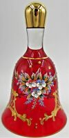Vintage Murano Glass Bell Red with 14K Gold Trim Made in Italy Enamel Painted