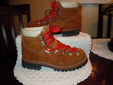 Vintage 80'S J.C. Penney'S Women'S Size 8 Tan Suede Hiking Boots/ Red Laces Ec