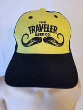 The Traveler Beer Co. Trucker Hat Craft Brew Black Yellow Mustache Cap Strapback