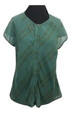 FAT FACE Top Size M Green w/Faint Stripes Casual Summer Cotton Holiday Boho