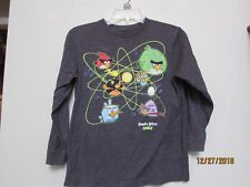 Old Navy Boy Size M Angry Birds Space Collectabilitees T-shirt Gray L/s sf