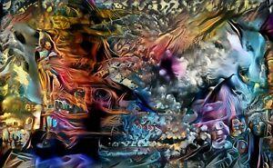 """My Stepdad Original Canvas Wall Art """"Rorschach 1"""" With 1/1 NFT"""