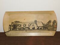 """VINTAGE 16 1/4"""" X 7 5/8"""" THE LODGE HOWE CAVERNS NY PS-27 WOOD SOUVENIR TRAY"""
