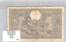 BILLET BELGIQUE - 100 FRANCS / 20 BELGAS - 1935