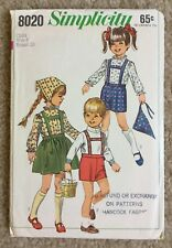 Vintage '60s Simplicity Child's Skirt Blouse Pants Scarf Cut Sewing Pattern 8020