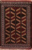 Tribal Geometric Balouch Afghan Oriental Area Rug Wool Hand-Knotted Carpet 3'x4'