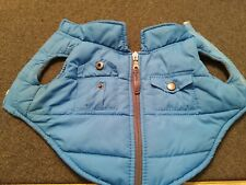 Dog Size XS Blue Textured Quilted Padded Lined Coat w/2 back snap pockets