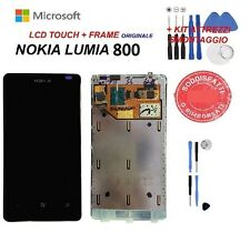 lcd display nokia lumia 800 vetro touch screen frame originale nero nuovo