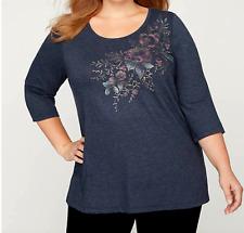 Women's 4X Blue Glitter Foil Floral Knit Top Shirt Bust 66 Length 31 CATHERINE'S