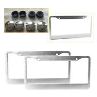 2X FIAT LASER Style Stainless Steel License Plate Frame Rust Free W//Cap