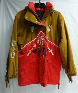 Vintage Bogner Western Print Ski Jacket With Fringe Size 8