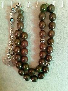 German Green Sandalus Cherry Amber Bakelite Prayer Beads Tesbih Misbaha Rosary