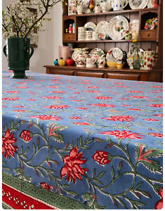 LOTUS VALLEY HANDMADE BLOCKPRINT COTTON TABLECLOTH 150 x 220 cm