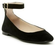 ff42a60db95 New LOUISE ET CIE Womens 6 M Charisa Black Suede Leather Ankle Strap Flats  EU 36