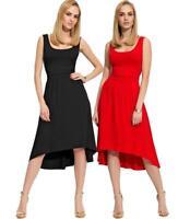 Damen Kleid Trägerkleid Asymmetrisch Vokuhila Dress Gr. S M L XL