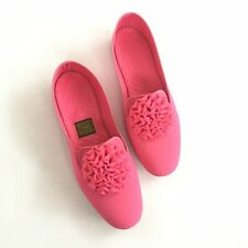 Vintage 1960s Daniel Green Rosette Flats Slippers Size 7 Hot Pink Like New