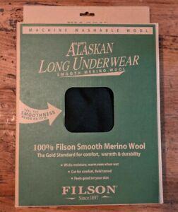 Filson 100% Merino Wool Heavyweight Long Johns Underwear Pants Alaskan Green XL