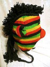 Hand Made 100% Wool Nepal Ski Mohawk Beanie Hat Rainbow Monkey Super Warm Unisex