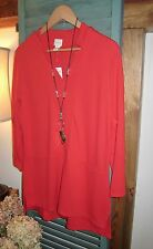 NWT CHICO'S CHINESE RED NOTCHED NECKLINE STRETCH KNIT TUNIC TOP, SZ 2 12/14 M/L