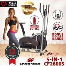 CONNECT FITNESS Elliptical Cross Trainer 5in1 & Exercise Bike Home Gym Equipment