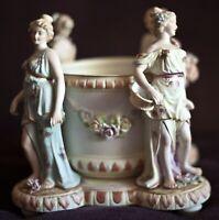 Antique Kalk Fine Porcelain Figural Jardiniere Center Bowl Marked Signed