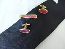 Vintage 22 ct Gold Plate Cufflinks & Tie Clip Set With A Pink Inserts