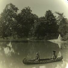 Vtg Keystone Magic Lantern Slide Photo Hiawatha Indian Play Canoe Teepee