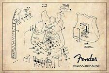 Fender Stratocaster Guitars - Brand New Licensed Maxi Poster - Exploded Diagram
