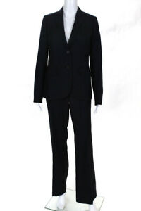 J Crew Womens Wool Striped Blazer Mid Rise Pants Suit Navy Blue Size 6