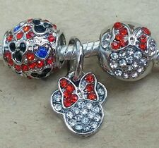Disney Crystal Red Minnie Head Bow Mouse Heart Beads fit European Charm Bracelet