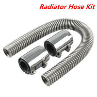 "1Set 24"" Stainless Steel Chrome Universal Radiator Flexible Hose Kit Covers New"