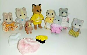 Sylvanian families Grey Cats Dog & Foxes 1985 family set By Epoch Rare X8 Figure