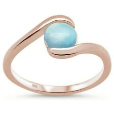 Rose Gold Plated Natural Round Larimar .925 Sterling Silver Ring