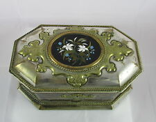 Victorian English Howell James Silver Plate Black&Green Tea Casket Pietra Dura