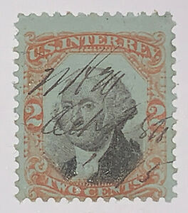 Travelstamps: US Stamps Scott #R151 REVENUE 3rd Issue 2c Washington GREEN PAPER