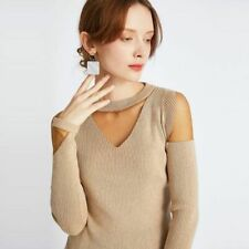 Sexy Pullover Damen Winter Langärmlig O Hals Top Schnürer Dekor Gestrickt Stoff