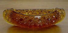 Hand Crafted Yellow Amber L E Smith Glass Canoe Daisy & Button Pattern Boat Dish
