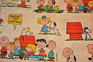 Peanuts Charlie Brown Snoopy 1971 Twin Set + Pillow Case Flat Linus Lucy Vintage