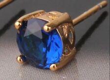 18k gold sapphire blue stone stud Gents men's single earring 364