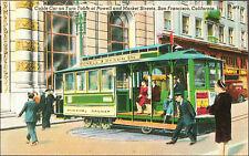 CARTOLINA - LINEA TRANVIARIA DI SAN FRANCISCO, SU PIATTAFORMA GIREVOLE - 1940