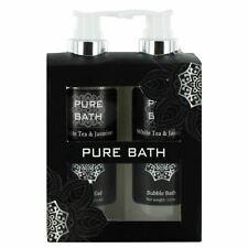 Pure Bath White Tea & Jasmine Ladies Shower Gel & Bubble Bath Pamper Gift Set